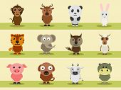 image of petting  - Cartoon characters of wild and pet animals like monkey - JPG