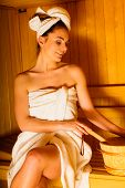 foto of sauna woman  - Spa beauty treatment and lifestyle relaxation concept - JPG