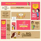 picture of special day  - Social media and marketing header or banner set of Big Sale with discount offer for Happy Mother - JPG