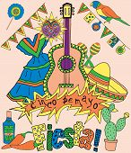 stock photo of mexican fiesta  - Poster for fiesta time with colorful hand drawn attributes of mexican holiday - JPG