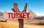 stock photo of mesopotamia  - Turkey wooden sign with desert background - JPG