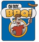 foto of yell  - Barbecue cartoon design features a man holding a hot dog on a fork and yelling - JPG