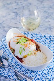 picture of loco  - Loco Moco with venison chili rice and a poached egg - JPG