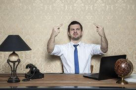 picture of ugly  - ugly behavior of business man in the office - JPG