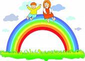 Happy children on the rainbow