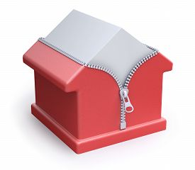 picture of thermal  - House thermal insulation concept with house and zipper  - JPG