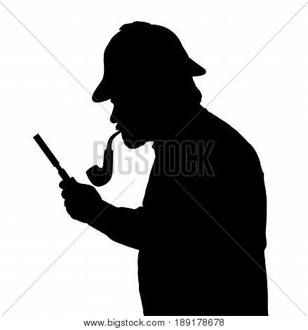 Silhouette Of Bearded Man Investigating