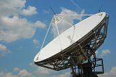 Antena parabólica com azul céu nublado