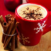 Delicious christmas coffee with cinnamon