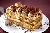 Tiramisu cake with cocoa and chocolate