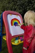 Child Painting Rainbow