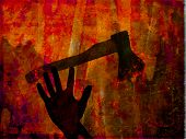 Hand & axe, criminal illustration