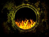 old grunge furnace, red fire flame