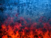 blue grunge background on fire