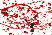 Spattering of blood on a white background