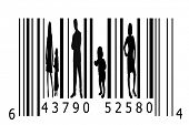 Bar code and people silhouettes. Can be used in business or as a concept for the crime of human traf