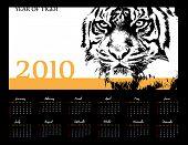 Calendar 2010. Year of Tiger. Vector. Computer Design.