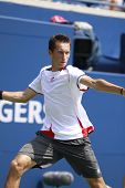 TORONTO: AUGUST 10. Sergiy Stakhovsky plays against Tomas Berdych in the Rogers Cup 2010 on August 1