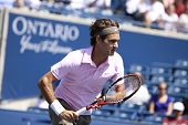 TORONTO- AUGUST 12:Roger Federer plays against Michael Llodra  in the Rogers Cup 2010 on August 12,