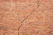 cracked red brick wall texture. grunge background.