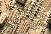 Close up of circuit board. Technology background