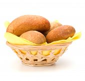 fresh warm rolls in breadbasket isolated on white background