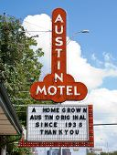 AUSTIN, TX - SEPT 9: The Austin Motel sign is a common symbol of Austin, has been in operation since