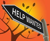 Help Wanted Sign Meaning Employment 3D Illustration poster