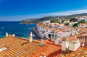 Top View In Cadaques, Catalonia, Spain Near Of Barcelona. Scenic Old Town With Nice Beach And Clear poster