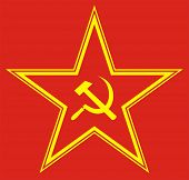 foto of hammer sickle  - Communist red star with hammer and sickle on red background - JPG