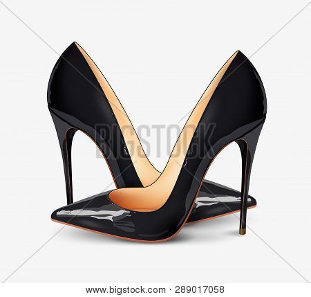 poster of A Pair Of Beautiful Female Shoes On A White Background, Sexy Shoes, Classic. High-heeled Shoes, Blac
