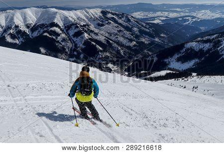 Male Skier Skiing Freeride Downhill