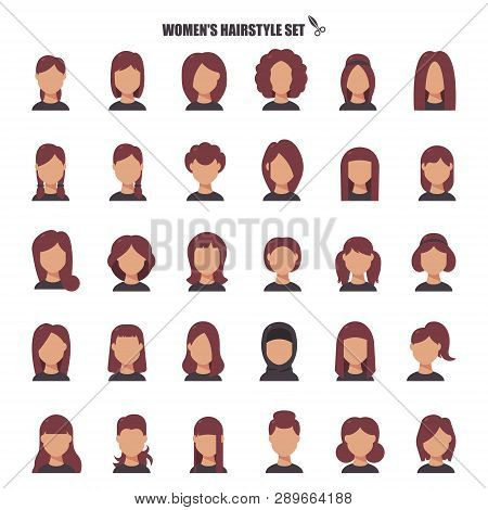Female Hairstyle Cartoon Monochrom Icons