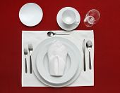 picture of coffee-cup  - Full table place setting on a red table cloth - JPG