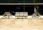 Empty seating at the airport departure area