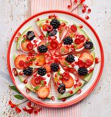 Watermelon Pizza, Vegetarian, Fruit  Pizza With Creamy Natural Yogurt And Fresh Fruits  On A Plate,  poster