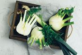 Fennel Bulb, Leek And Parsley In Wooden Box poster