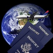 Planet earth, an airliner, and US passports. Earth image courtesy NASA via public domain.