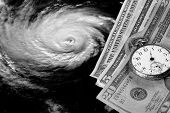 Cost of a hurricane - black and white image.