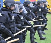 Preparing for civil unrest - Police officers in riot gear. Image taken on May 22nd at San Diego's Ba