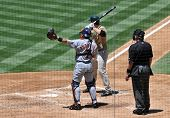 Four wide ones - First Baseman slugger Adrian Gonzalez is intentionally walked during a game on June