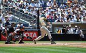 San Diego Padre Chase Headley batting - third baseman. Image taken on June 22, 2008 at Petco Park.