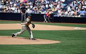 June 22nd, 2008 Padres relief pitcher Cla Meredith pitching versus the Detroit Tigers at Petco Park.