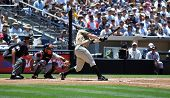 June 22nd, 2008 - Paul McAnulty, outfielder for the San Diego Padres hitting during a game versus th