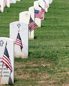 Remembering America's Fallen War Heroes - Fort Rosecrans National Cemetery Headstones adorned with flags on Memorial Day