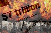 Seven Trillion $ Vanishes - apocalyptic headlines and fire as the stock market melts down in the fall of 2008.