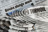 Stock Market Ripples - headlines of turmoil and panic in October of 2008