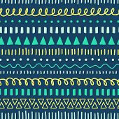 Tribal Doodles Seamless Vector Pattern. Ethnic Style Background White, Blue, Yellow, Teal. Hand Draw poster