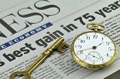 Best Gain in 75 Years - newspaper headlines with pocket watch and skeleton key. Market timing and su