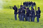 VISTA, CA - MAR 7: Union Army soldiers on the battlefield  in a Civil War reenactment on March 7, 20